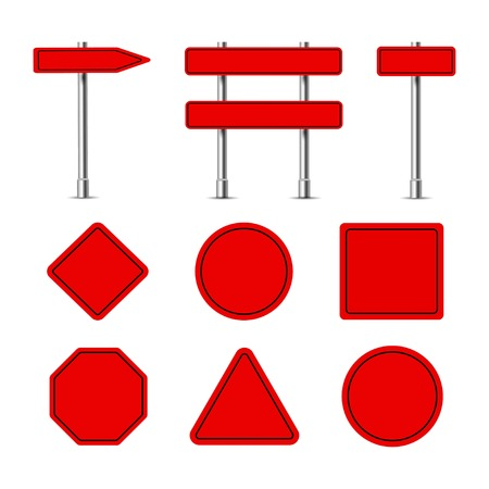 red traffic signs, on racks and without a riser on a white background, vector Stock Illustratie