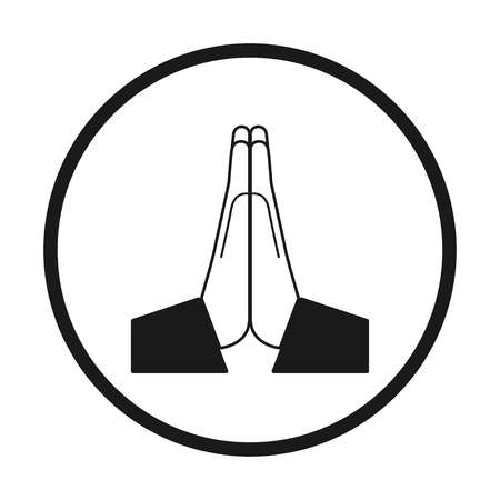 Vektor gefaltete Hände-Symbol. Schwarz und weiß in einem Kreis, Vektor