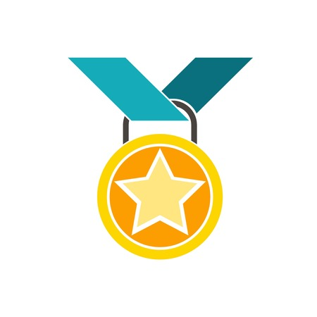 vector medal. Flat illustration of medal isolated on white background. prize sign symbol. emblem icon with blue strap, vector 일러스트