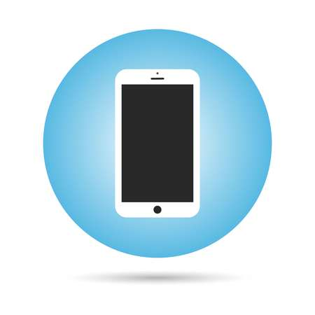 Phone vector icon, phone in blue circle. Vector