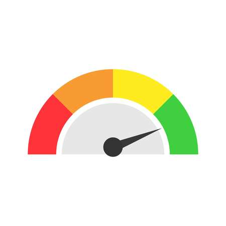 Speedometer icon or sign with arrow. On a white background, vector
