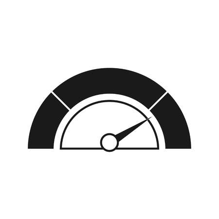 Speedometer icon or sign with arrow. Black white. Vector