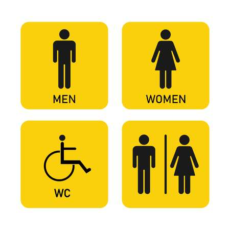 Toilet icon, Man, woman, disabled person, four patterns on yellow background, vector Ilustracja