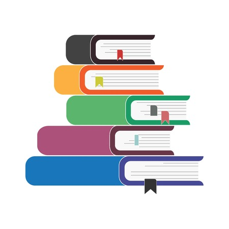 Five bookmarked books stacked on top of each other, vector Imagens - 119779331