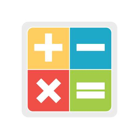 plus, minus, multiply and exactly on a white background, vector Illustration