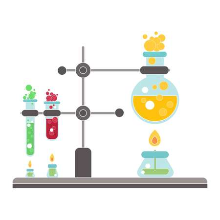 Chemical process on fire and on white background, vector Banque d'images - 119777362
