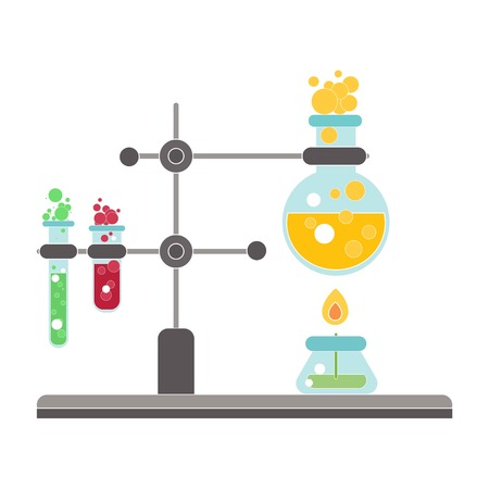 Chemical process on white background, vector Banque d'images - 119777364