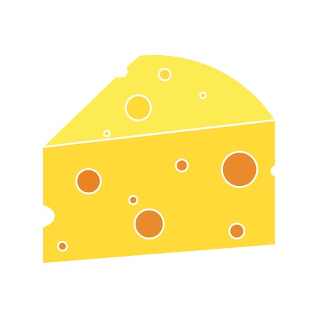 Cheese with holes on a white background, vector