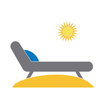 Chaise lounge on the whine under the sun, vector