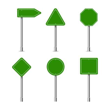 Green different road signs on a white background, vector