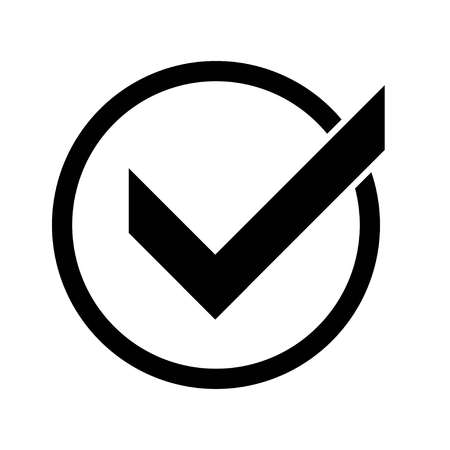 Black circle check mark. Confirmation tick okey marks, accepted marked agree pictogram success sign and positive checked confirm marking checks box for accepted checklist flat icon Illustration