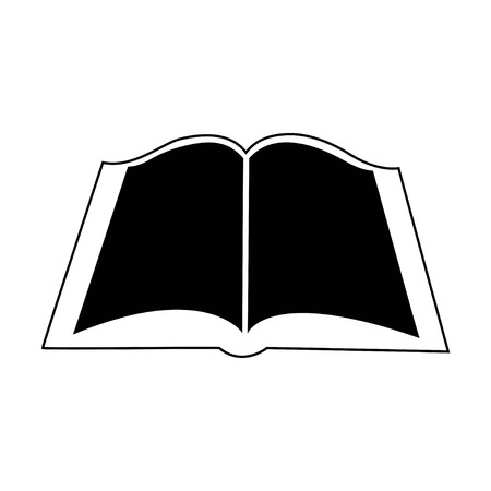 Book icon, black-white book on a white background, vector 向量圖像
