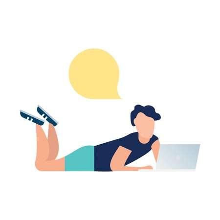 vector illustration, guy communication through internet instant messengers. friends correspondence Stock Illustratie