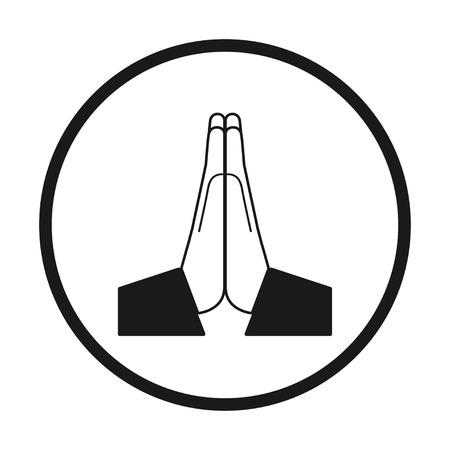 Icona di mani piegate di vettore. Bianco e nero in un cerchio, vettore