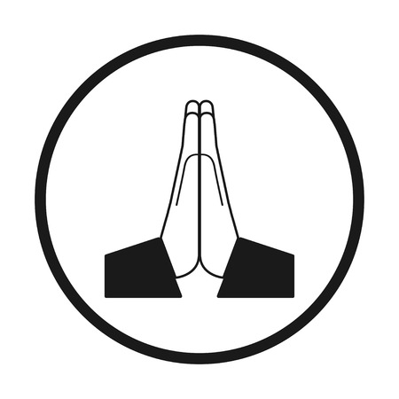 Vector folded hands icon. Black and white in a circle, vector
