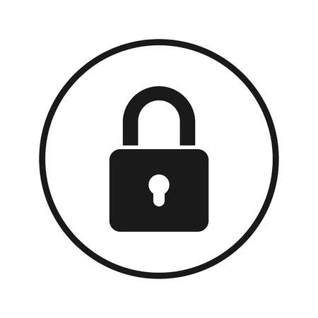 lock icon, black and white on a white background. Vector