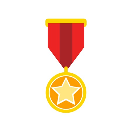 vector medal. Flat illustration of award medal isolated on white background. prize sign symbol. Vector
