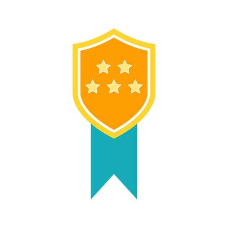 Medal of Honor icon vector. Vector medal with blue ribbon.