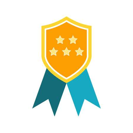 Medal of Honor icon vector. Vector medal with two blue ribbons.
