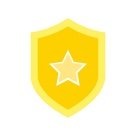 shield icon vector. protection and security icon, with a star in the center.