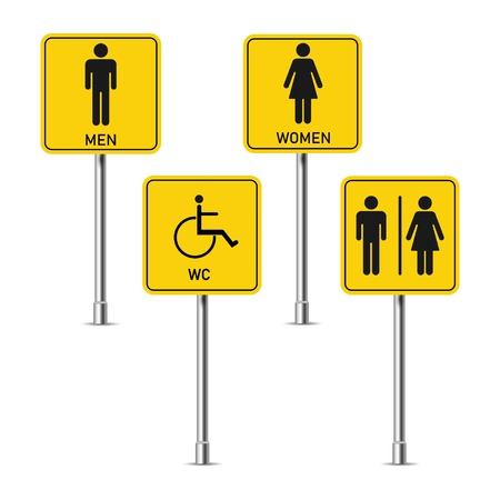 Toilet signs, Man, woman, disabled person. On four pillars, vector
