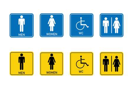 Toilet signs, Man, woman, disabled person. Signed, square signs. Vector.