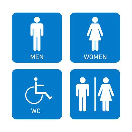 Toilet icon, Man, woman, disabled person, four patterns on blue background, vector