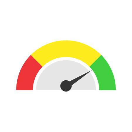 Speedmeter icon or sign with arrow. Vector illustration.