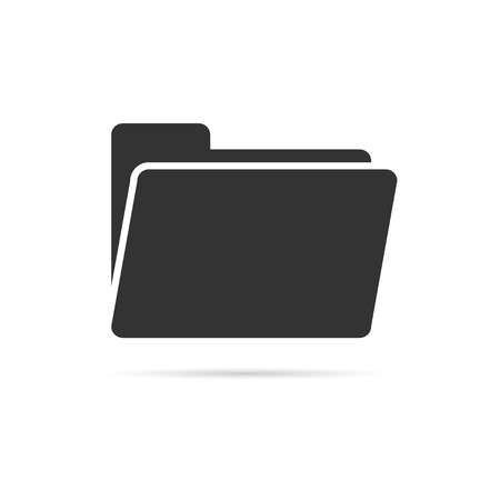 open folder icon. Open folder with documents. Black and white folder icon isolated with shadow on white background. Vector