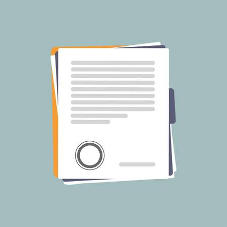 Contract or document signing icon. Signing contract sample style. illustration on light blue background. Vector flat illustration Иллюстрация