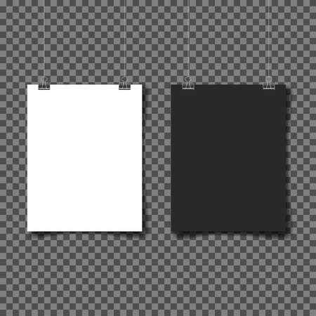 White and black poster hanging. Mock up empty paper blank. Vertical and horizontal template on gray background. Vector