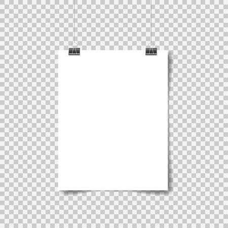 White poster hanging. Mock up empty paper blank. Vertical and horizontal template on transparent background. Vector