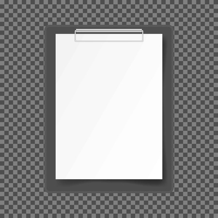 Folder with a white sheet of paper on a dark background, vector