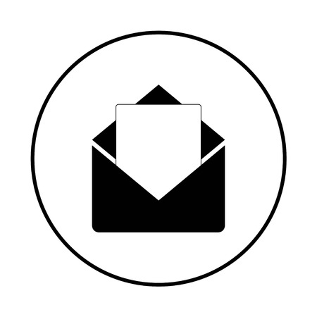 Envelope icon, black and white in a black circle, vector