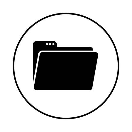 open folder icon. Open folder with documents. Black and white folder icon in black circle on white background. Vector Иллюстрация