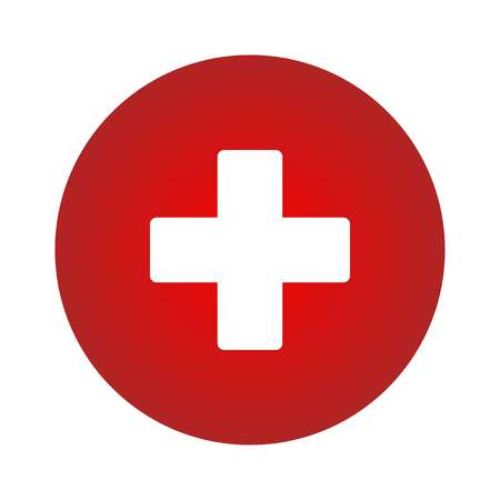 Plus Icon vector. Add icon. Addition sign. Medical Plus icon on red circle, vector