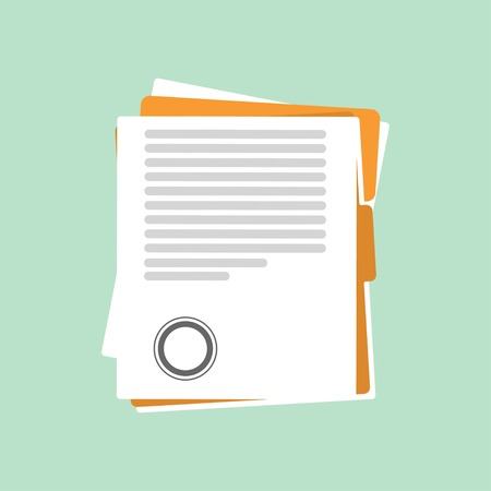 Contract or document signing icon. Signing contract sample style. illustration on a light green background. Vector flat illustration