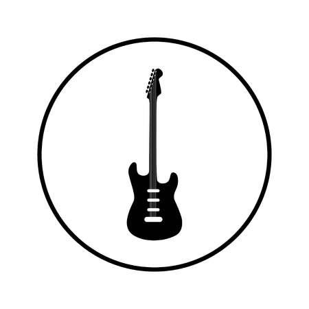 Electric Guitar icon. Vector illustration in black circle, vector