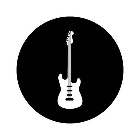 Electric Guitar icon. Vector illustration on black circle, vector