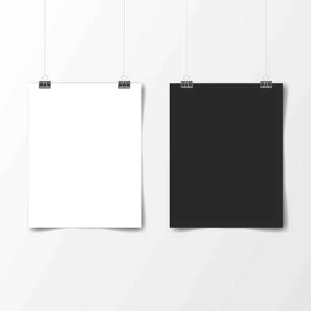 White and black poster hanging. Mock up empty paper blank. Vertical and horizontal template. Vector illustration