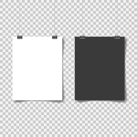 White and black poster hanging. Mock up empty paper blank. Vertical and horizontal template on transparent background. Vector illustration