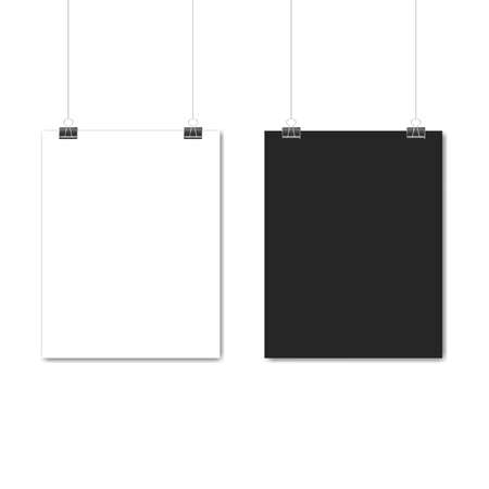 White and black poster hanging. Mock up empty paper blank. Vertical and horizontal template on white background. Vector illustration