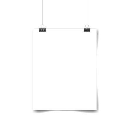 White poster hanging. Mock up empty paper blank. Vertical and horizontal template on white background. Vector illustration Иллюстрация