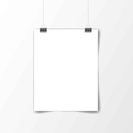 White poster hanging. Mock up empty paper blank. Vertical and horizontal template. Vector illustration