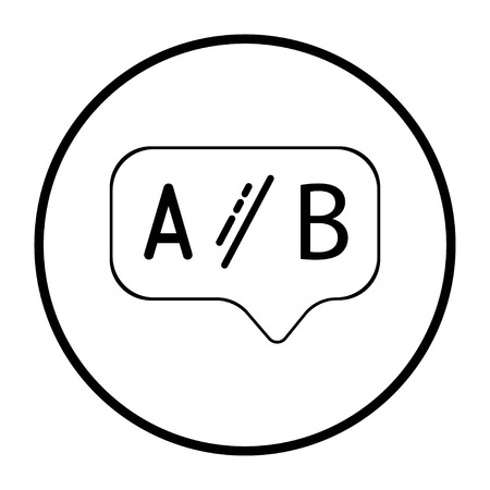 Ab testing line icon. Ui test chat bubble sign. Geometric shapes. Random cross elements. Linear Ab testing icon design on a white background. Vector