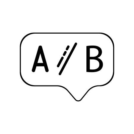 Ab testing line icon. Ui test chat bubble sign. Geometric shapes. Random cross elements. Linear Ab testing icon design. Vector illustration