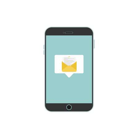 New message on the blue smartphone screen, on a white background. Vector illustration.