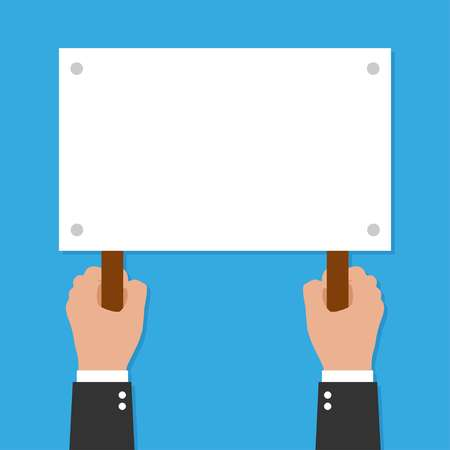 Two Hands holding placard. Vector flat for web banners, infographic design, vector