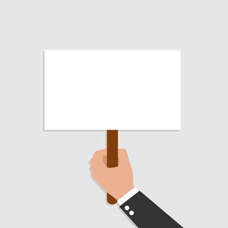 Hand holding placard. Vector flat for web banners, infographic design on gray background. Vector