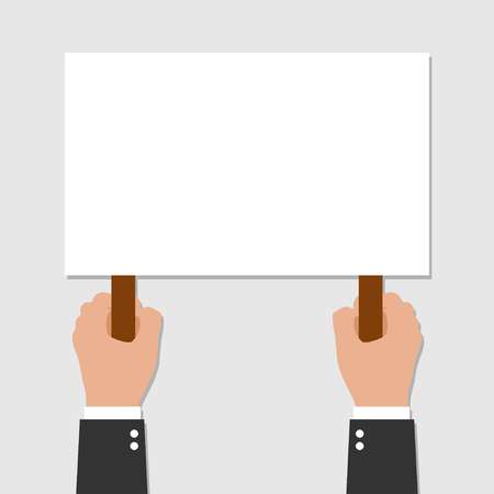 Two Hands holding placard. Vector flat for web banners, infographic design on gray background. Vector